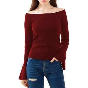 Sweaters - Wine Wide Neck Bell Sleeve Quality Sweater, S-XL